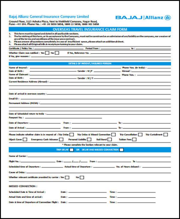 travel allowance form sample