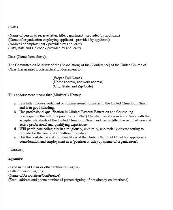 16 Endorsement Letters Samples & Templates PDF DOC
