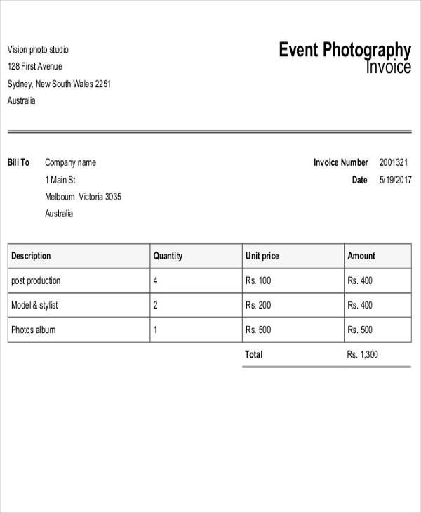 invoice for photography