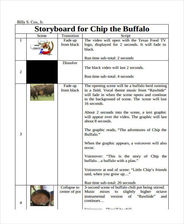 Script Storyboard 6 Examples In Word PDF