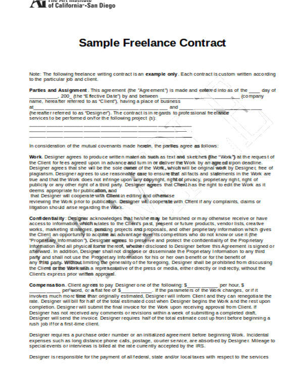 Freelance Contract Templates. Freelance Graphic Design Contract ...