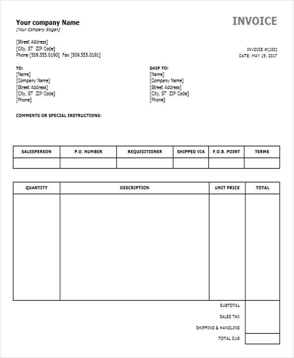 free billing invoice templates