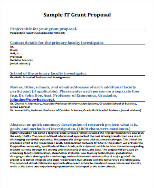 12 Grant Proposal Samples  Word PDF Pages