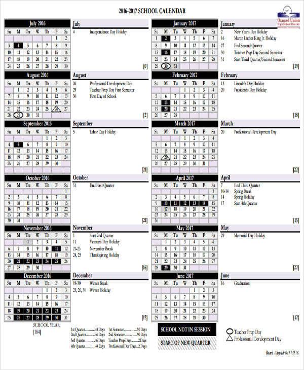 6+ School Calendar Templates