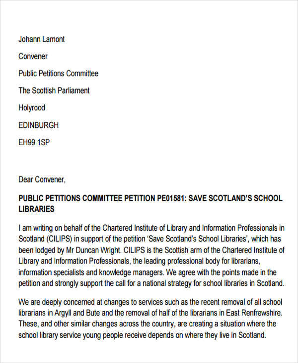 School Petition Free Sample Example Format Download. Appeal Letter ...