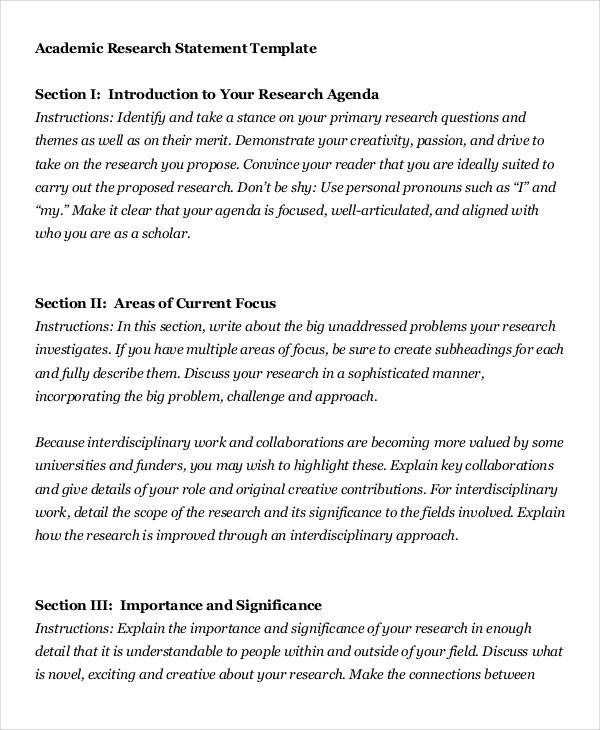 Fine Research Statement Template Gift Resume Template