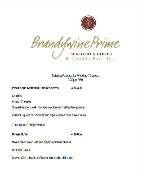 5 Catering Proposal Template  Examples in Word PDF