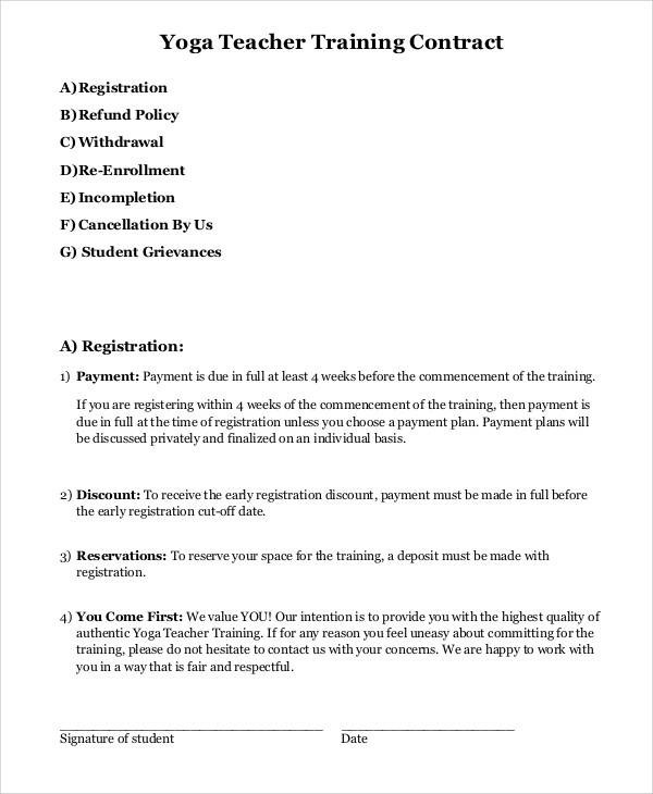 9 Teacher Contract Samples  Templates  PDF DOC