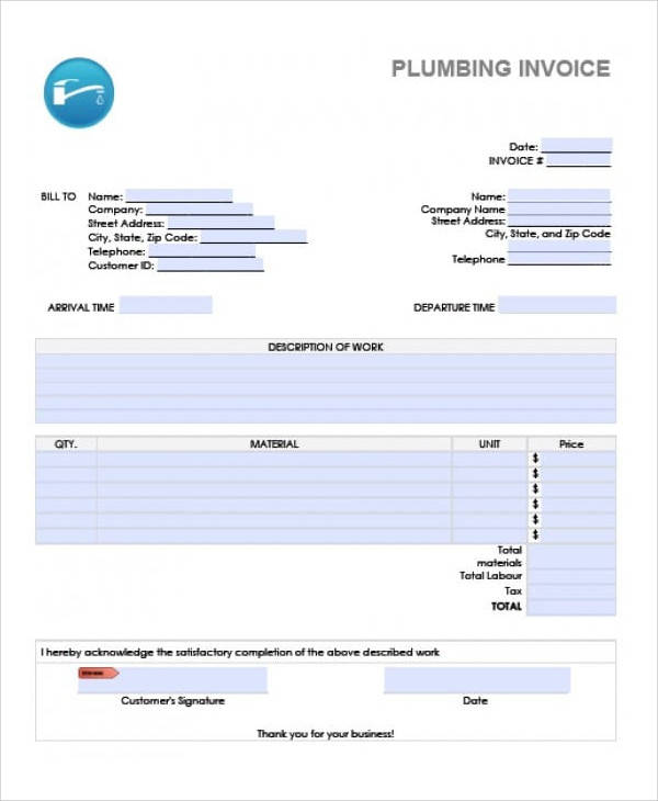 Sample Plumbing Invoice 7 Examples In PDF Excel Word