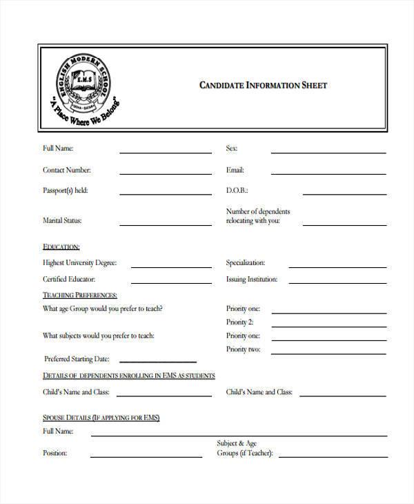 49+ Information Sheet Samples