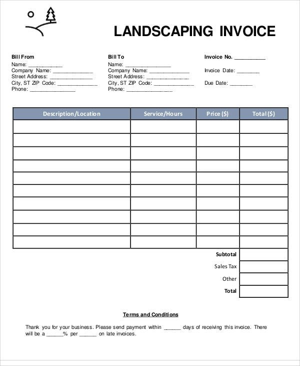 landscaping invoice template free download