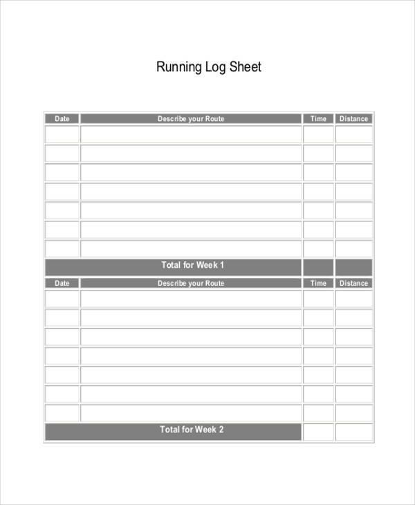 running log printable