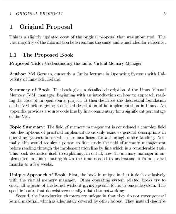 6 Book Proposals – Free Sample Example Format Download