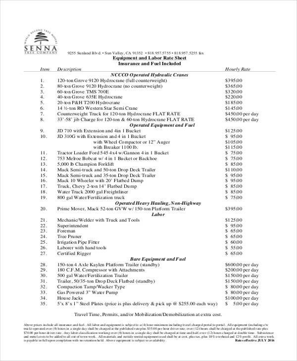 Rate Sheet Template. Rate Sheet Template Official Design Rate Sheet ...