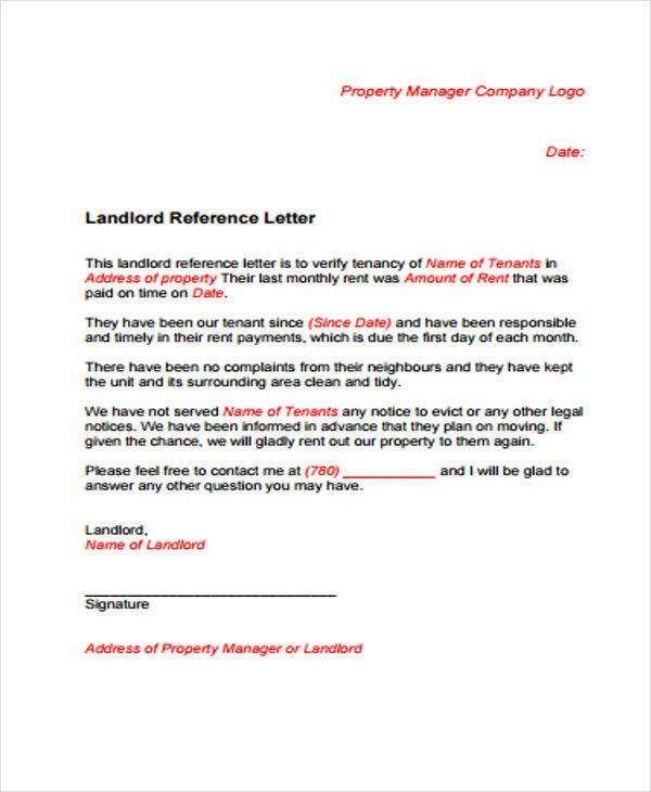 letter of recommendation for house rental