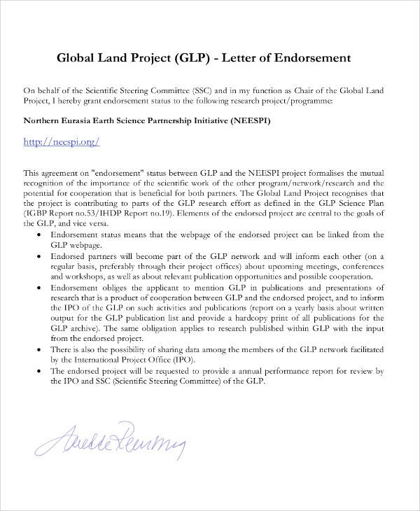22 Endorsement Letter Samples & Templates PDF DOC