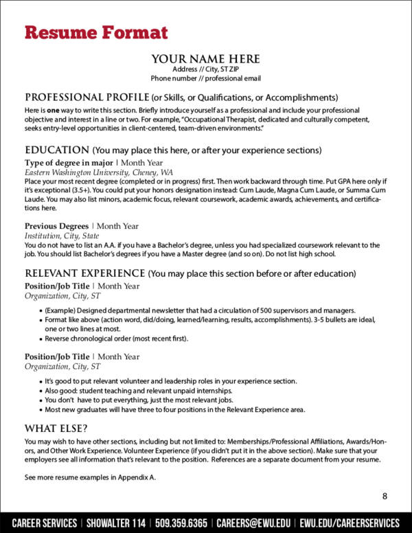 resume template tips