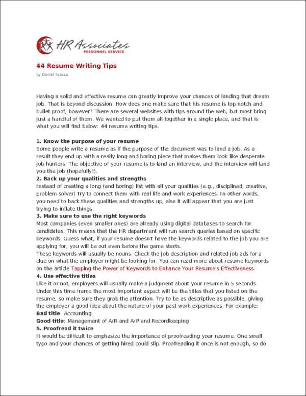 10 effective resume writing tips
