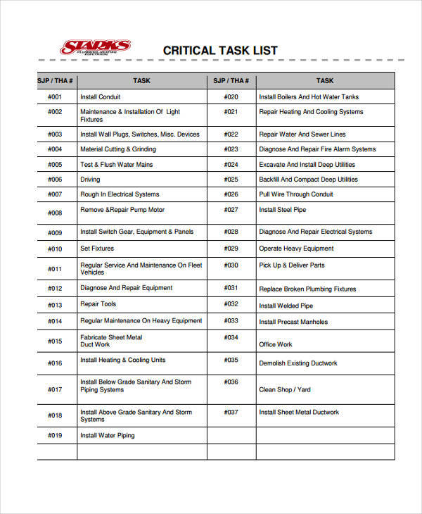 maintenance task list