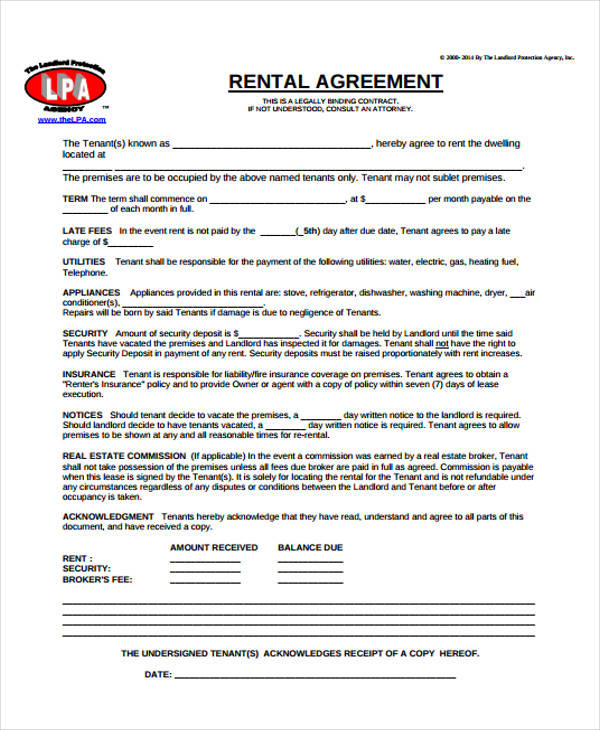 Sample Lease Agreement Form Mwb Online Co
