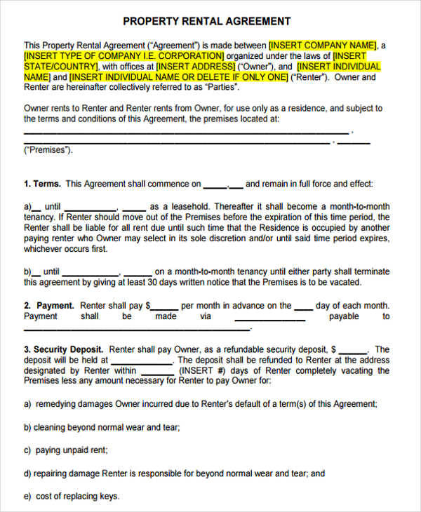 42 Lease Agreement Formats & Templates | Sample Templates