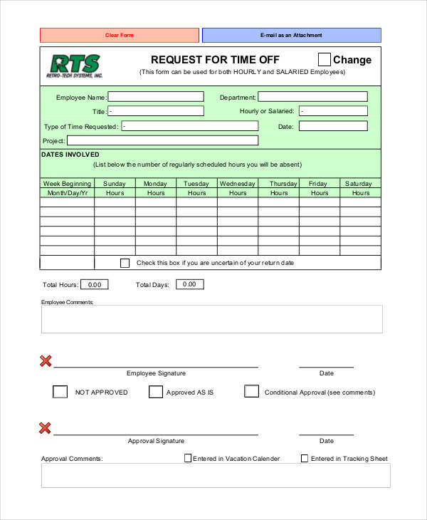 personal time off request form