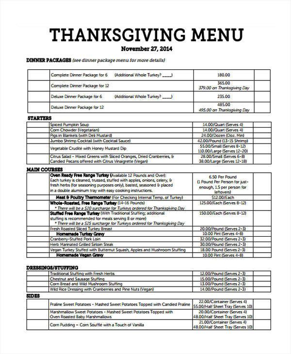 thanksgiving dinner list template