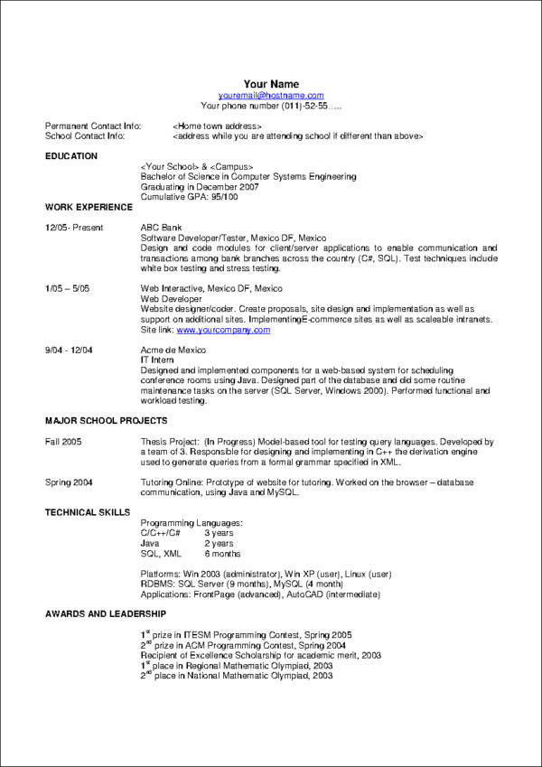 resume style samples