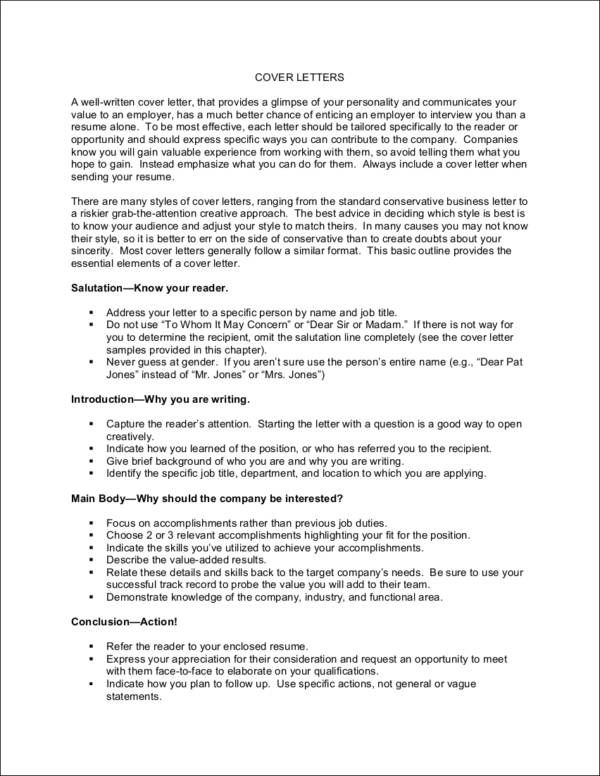 short cover letter example