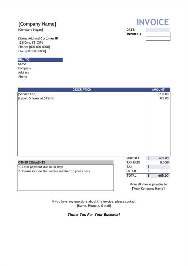 service invoice definition