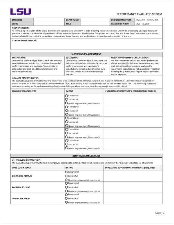 employee annual evaluation form