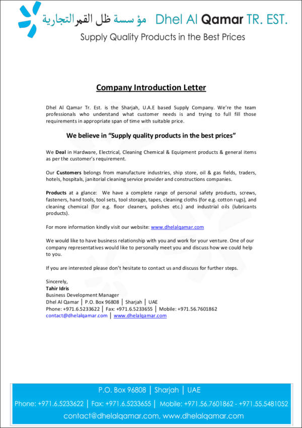 15 Company Introduction Letter Samples  Templates  DOC PDF