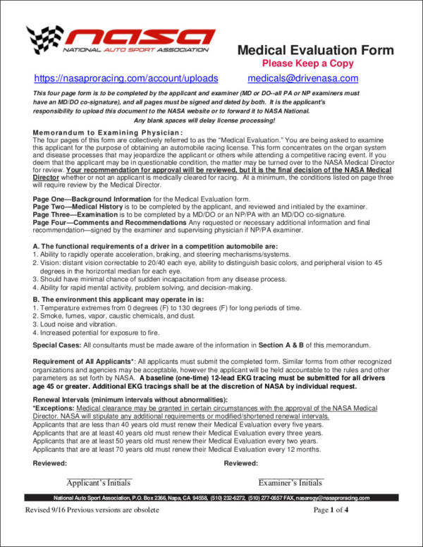 9 Medical Evaluation Form Samples Templates