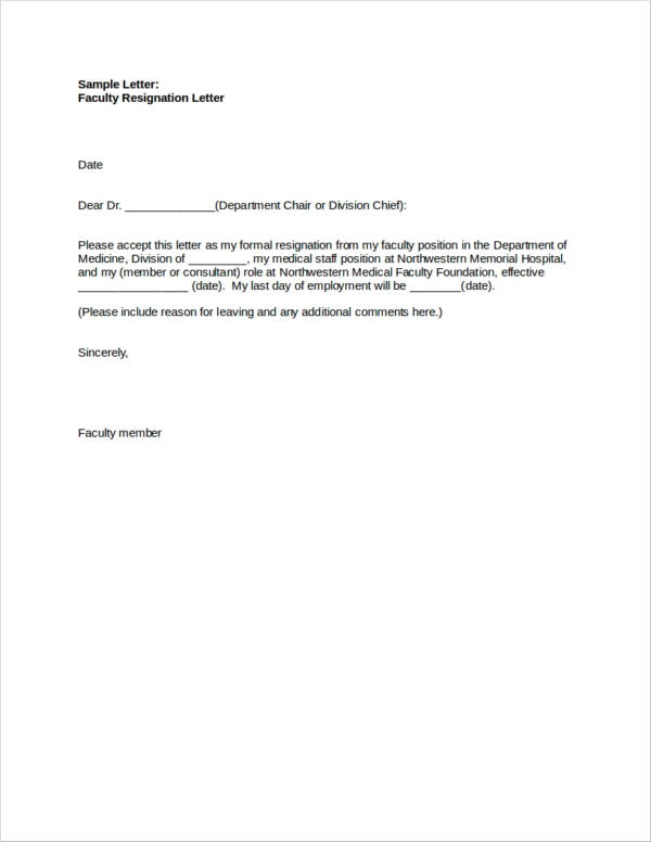 45 Resignation Letters in Doc  Free Word Format Download