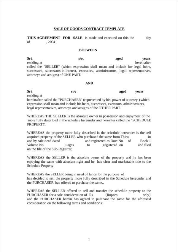 standard bill of sale template