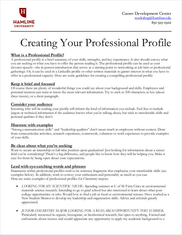 11 Personal Profile Samples  PDF DOC