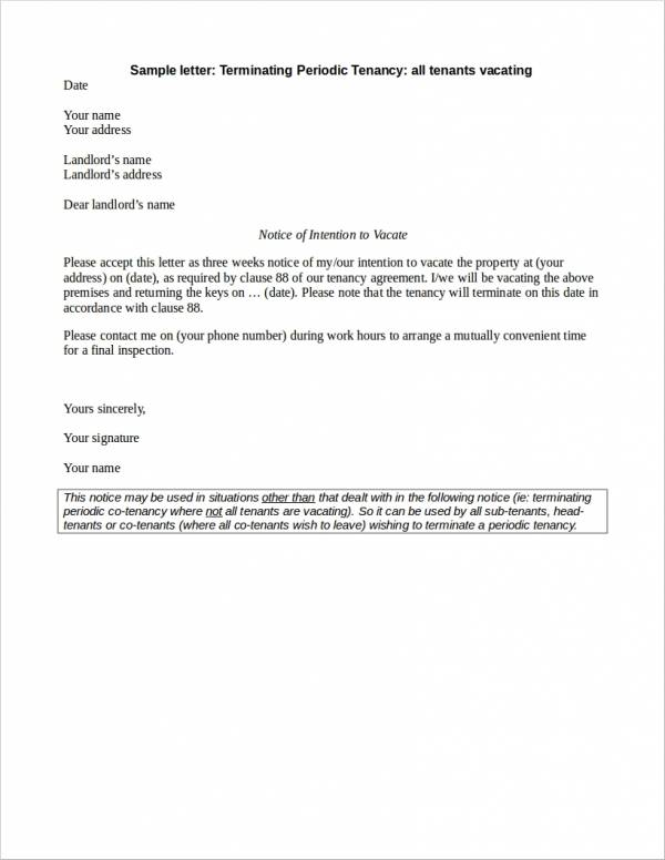 FREE 23 Lease Termination Letter Samples Amp Templates In Word PDF