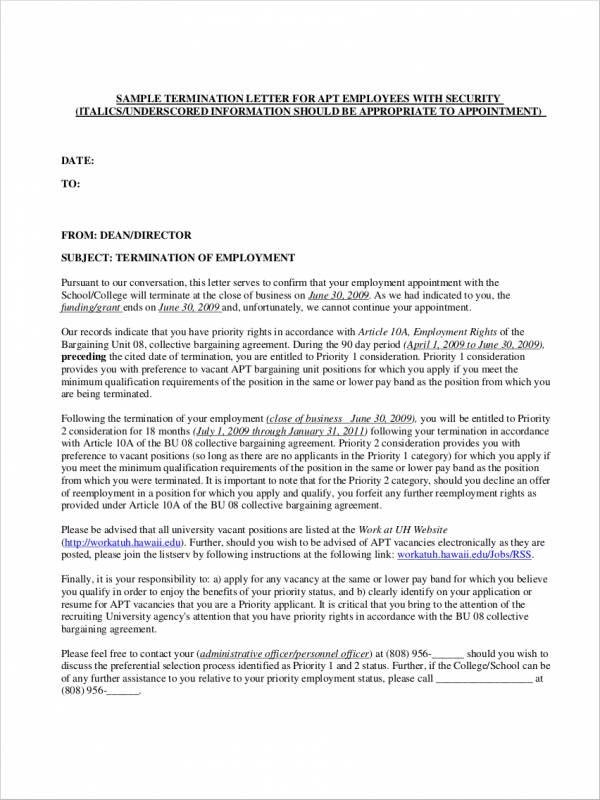 sample cobra termination letter