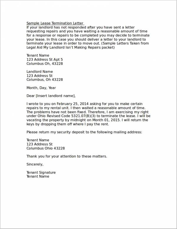 sample letter to terminate lease early