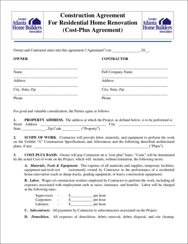 FREE 14+ Renovation Contract Templates in PDF   MS Word   Google Docs   Pages