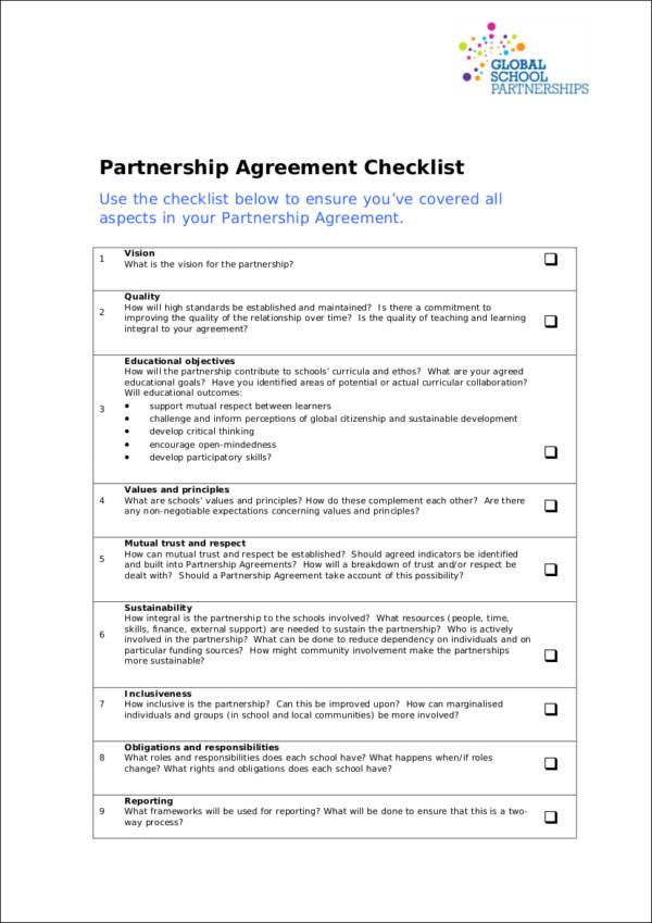 9+ Partnership Agreement Checklist Samples & Templates – PDF ...
