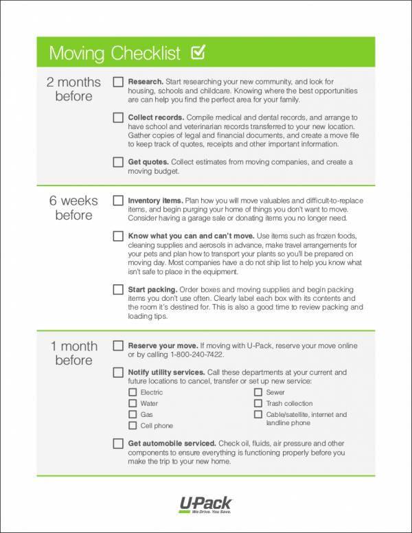12 moving checklist samples