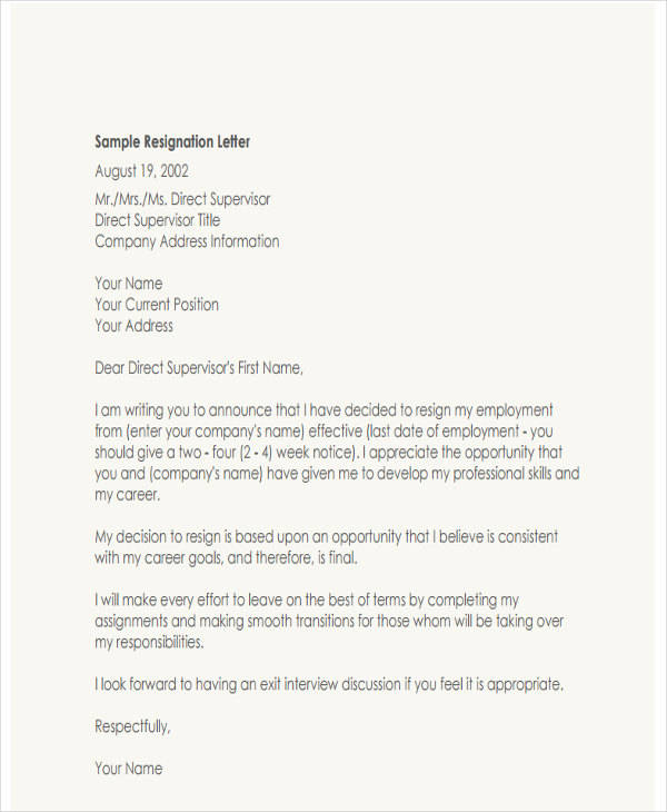6 Resignation Letter with Regret Samples and Templates  PDF Word