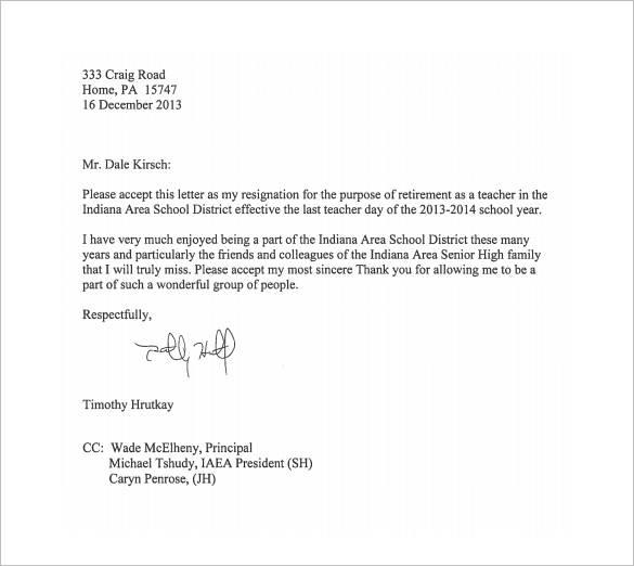 13 School Resignation Letter Samples Templates Pdf Word Teacher Retirement