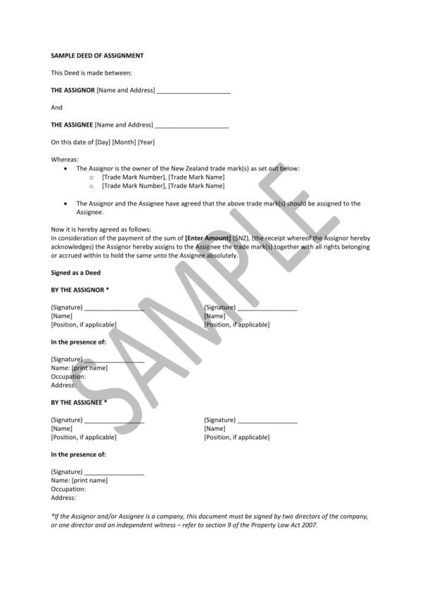 14 Deed Of Assignment Samples PDF Word