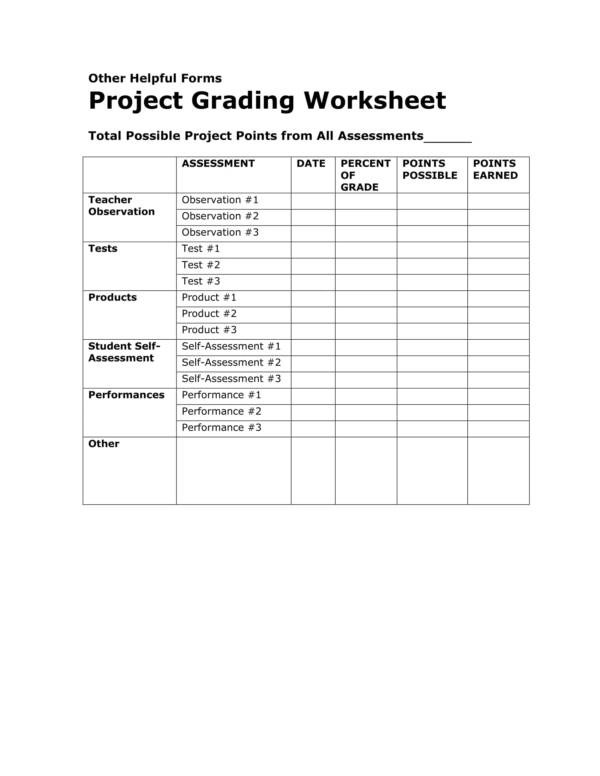 Free 18 Grading Worksheet Templates In