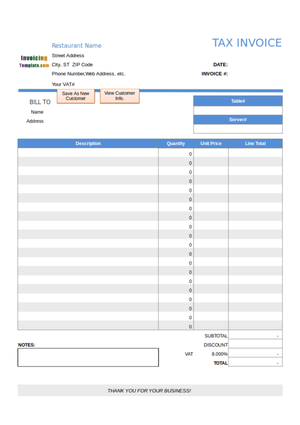 FREE 10 Restaurant Invoice Samples Templates In PDF Word Excel