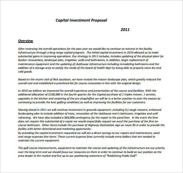 12 Business Investment Proposal Samples  Templates  PDF