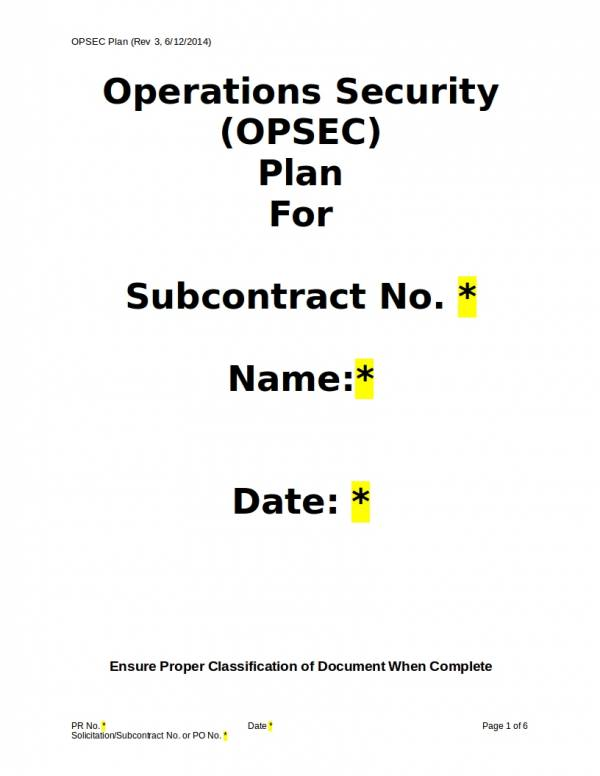 FREE 11+ Security Operational Plan Samples & Templates in