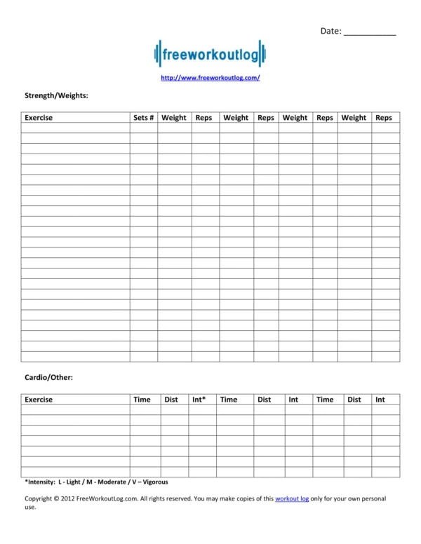 Free Workout Plan Template Pdf : workout, template, Workout, Planner, Templates